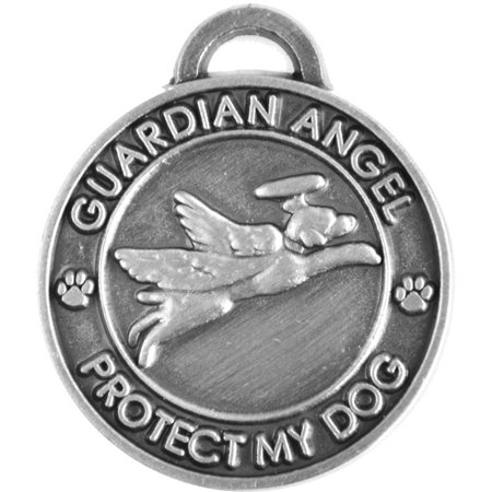 Pet Charm Guardian AnGel Dog, Antique Silver