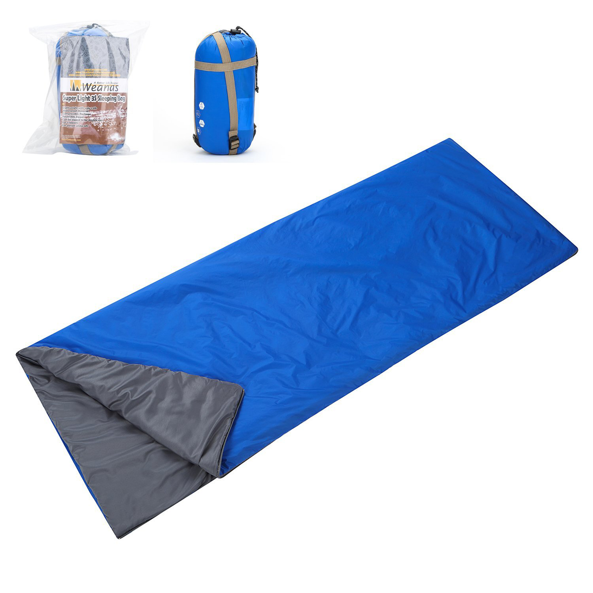 WEANAS Lightweight Compact Outdoor Camping Envelope Sleeping Bag Comfortable Durable Waterproof for Summer School Hiking Backpacking Travel Adventurer New Extra Size Launched (Olive)