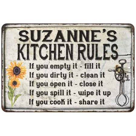 Suzanne S Kitchen Rules Chic Sign Vintage Decor 12x18 Metal