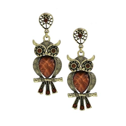 Medium Antiqued Turquoise Crystal Wise Owl Dangle Earrings BROWN