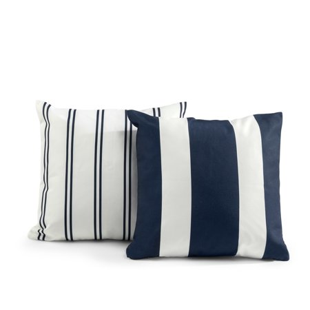 Zinus Tecoria Navy Mixed Stripe Square Outdoor Throw Pillow - Set of Two ()