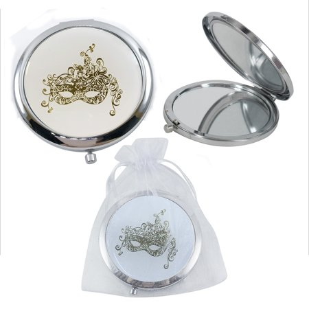 Sweet 16 Games Ideas (12 Pcs Silver Masquerade Mask Compact Mirrors - Quinceanera/ Sweet 16/ Bridal Shower/ Birthday Favors for Guests)
