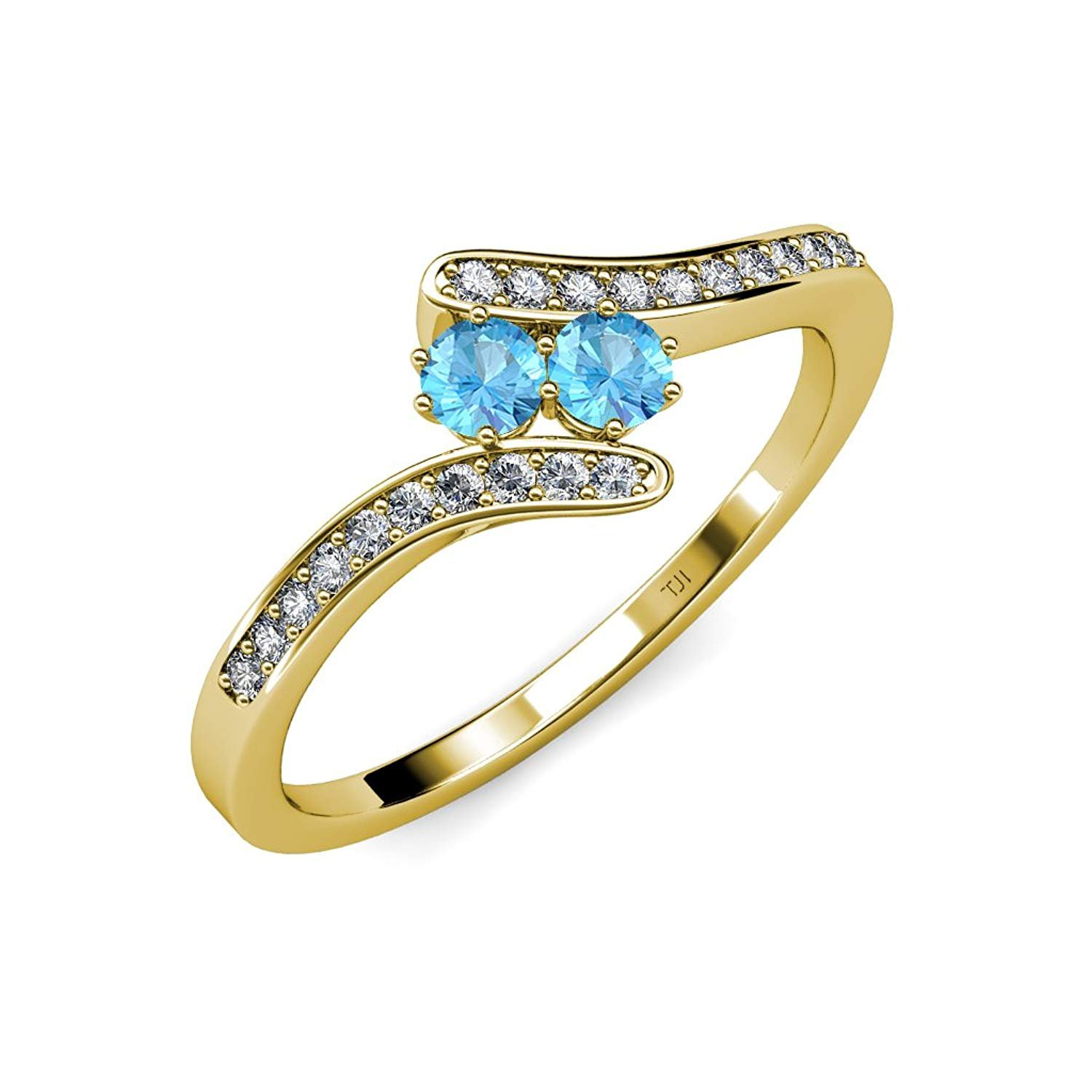 Blue Topaz 2 Stone with Side Diamonds Bypass Engagement Ring 0.74 ct tw in 14K Yellow Gold.size 7.0 by TriJewels