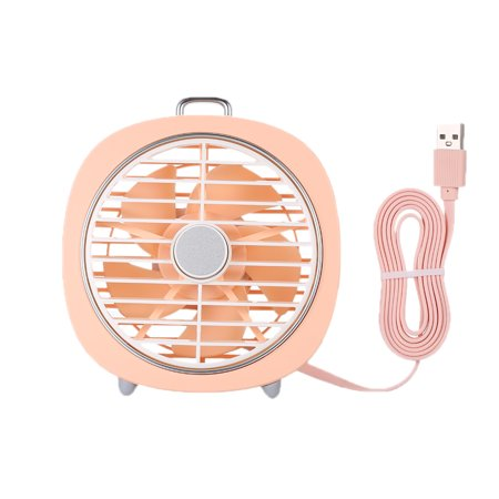 Mini USB Table Fan with Rotating Cover Mask 3 Speeds 180? Wind Direction and Adjustable Night Light Desktop Fan for Office Home - image 1 de 7