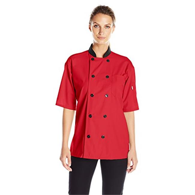 Vtex 0494-1606 Uncommon Threads Womens Havana Chef Coat SS Mesh Black Trim, Navy - 2XL - image 1 of 1
