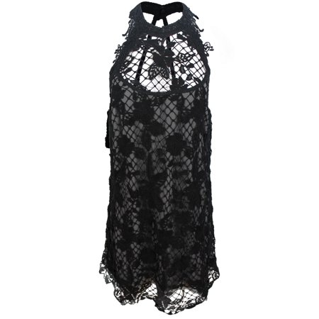 Free People Womens Black Floral Mesh Lace Mini Halter Trapeze Dress