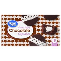 Great Value Crme Filled Chocolate Cupcakes, 16 oz, 8 Count
