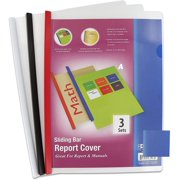 """Clear Front Report Covers with Sliding Bar fits 8.5"""" x 11"""" Papers with Heavy Duty Covers Helps to Bind Reports & Handouts Holds up to 30 Pages - 3 Per Pack (Pack of 2) - by Emraw"""
