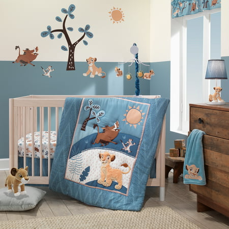 Disney Baby Lion King Adventure Blue 3-Piece Crib Bedding Set by Lambs & Ivy - Baby Lion King