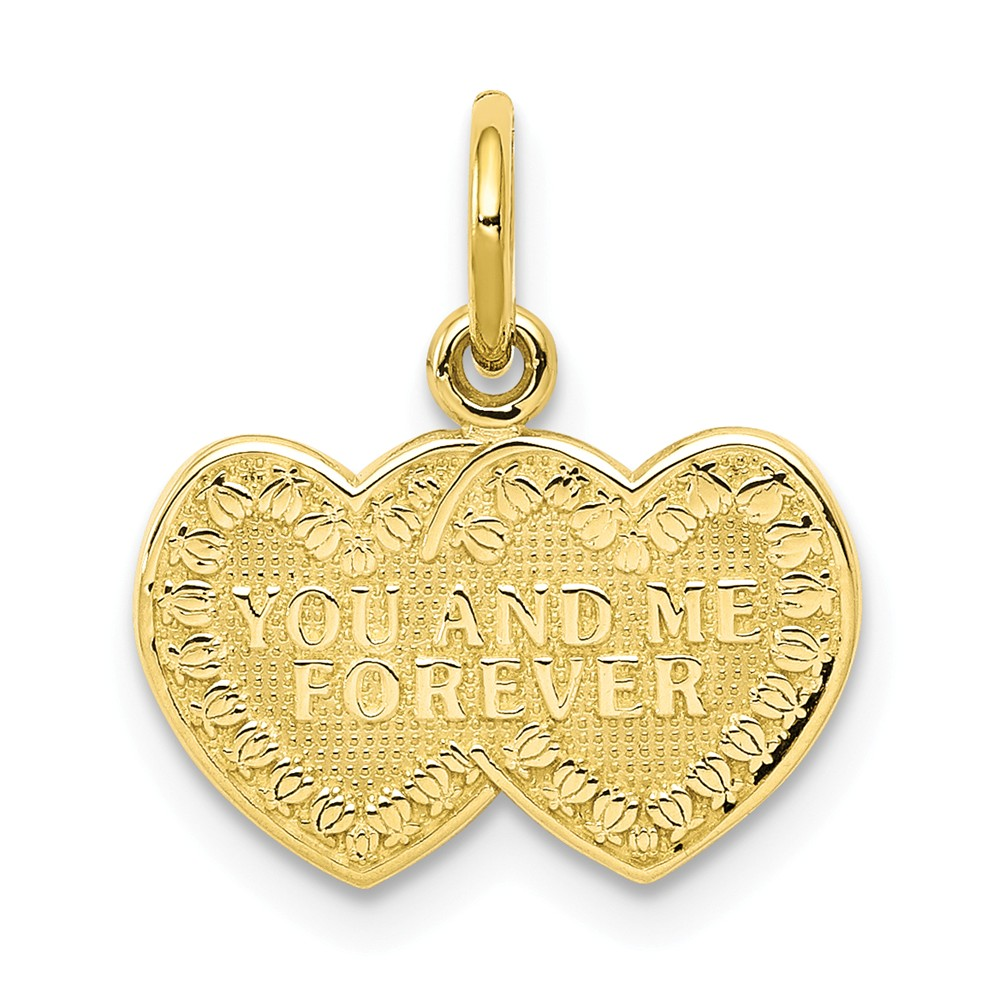 10k Yellow Gold YOU & ME FOREVER Heart Charm Pendant