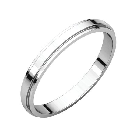 14k White Gold 2.5mm Flat Edge Band Ring - Ring Size: 5.5 to (White Gold Flat Edge Band)