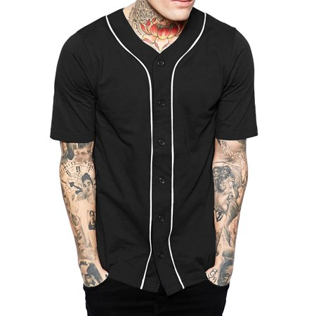 Mens Baseball Jersey Button Down Athletic Sport Uniform (Ribbed Two Button Jersey)