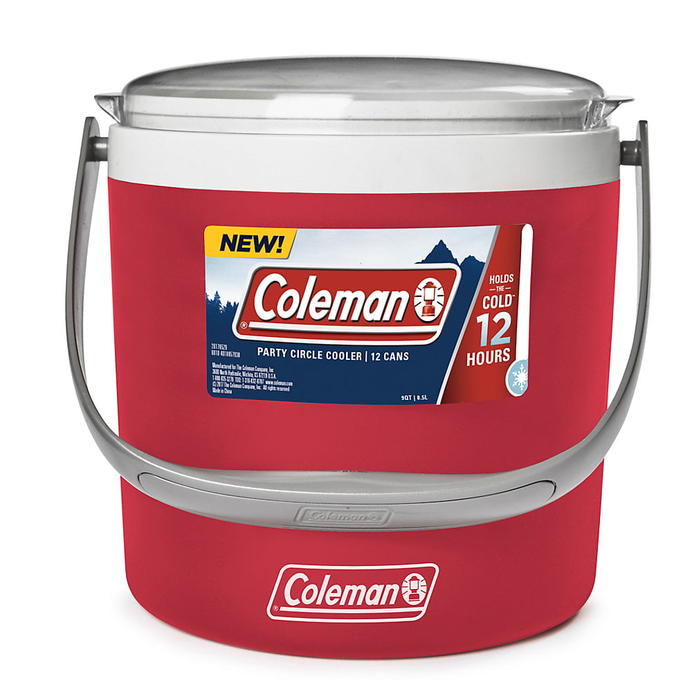 Coleman 9 Quart Beverage Party Cooler, Easy Handle, 12 Can, Red