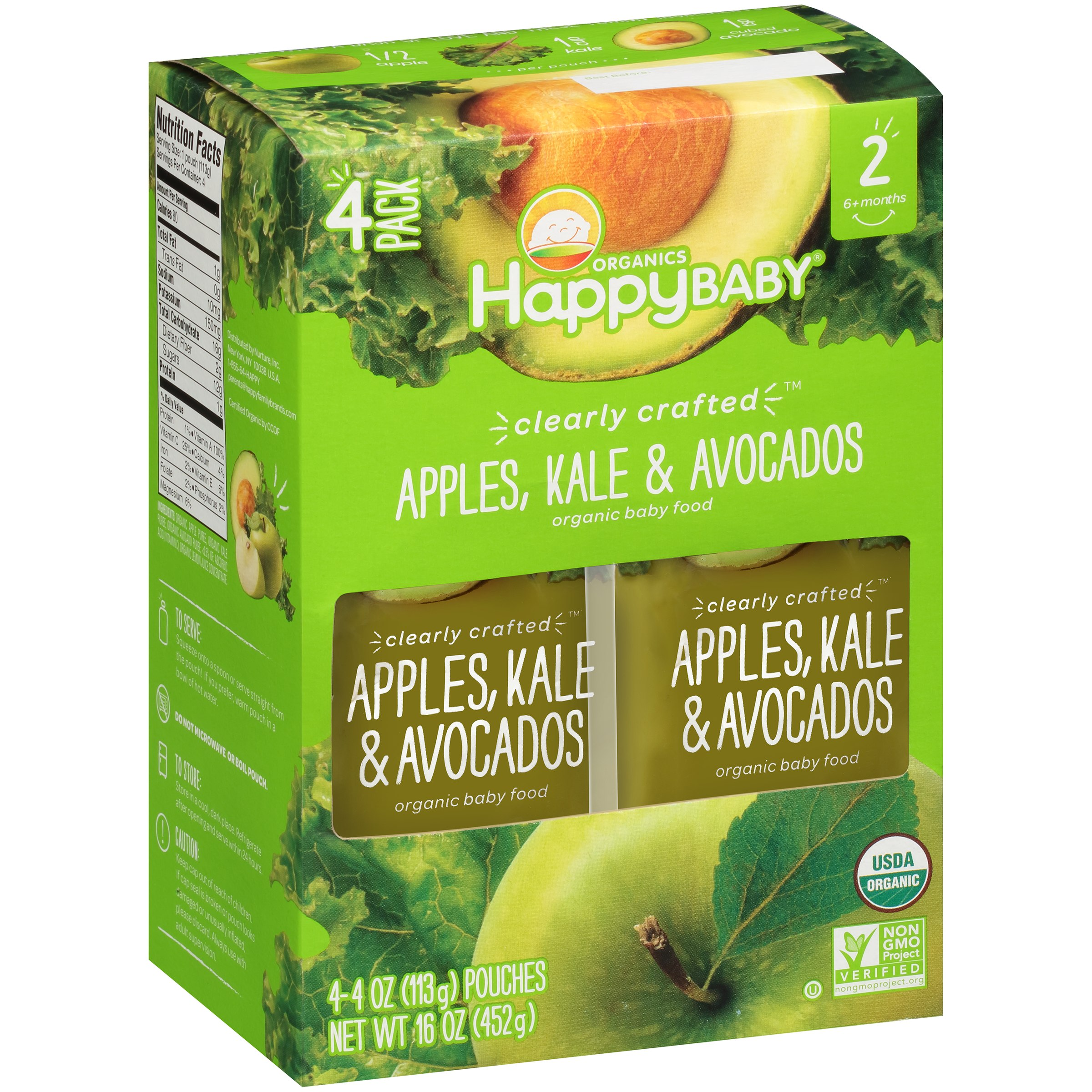 Happy Baby® Organics Clearly Crafted⢠Apples, Kale & Avocados Organic Baby Food 4-4 oz. Pouches