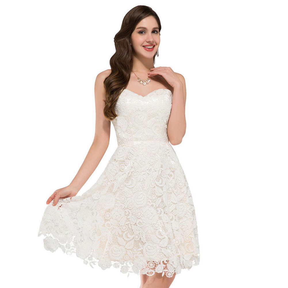 Albizia Beach Ivory Vintage Lace Short Bridal Wedding Dre...