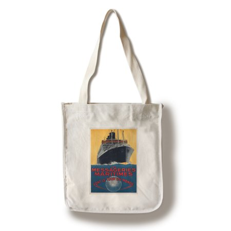 Messageries Maritimes   Font Le Tour De Monde Vintage Poster  Artist  Hook  France  100  Cotton Tote Bag   Reusable