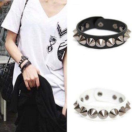 Moderna Punk Gothic Rock Faux Leather Rivet Stud Spike Bracelet Cuff Bangle - Spiked Bracelet