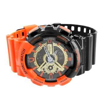 Mens Orange Black Shock Resistant Watch Unique Design Analog Digital Sports