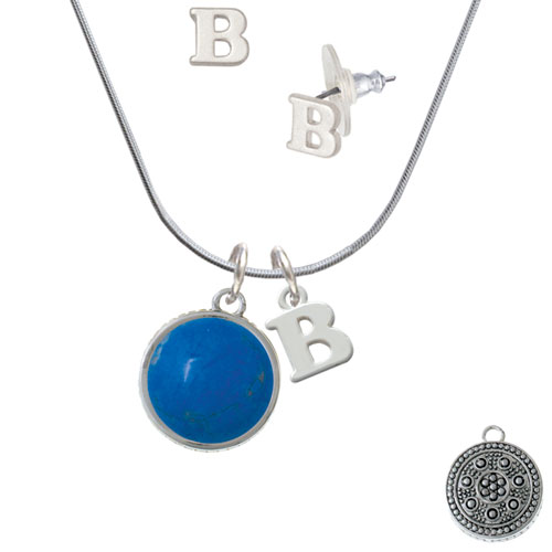 Round - Dolomite Marble - Dark Teal - - B Initial Charm Necklace and Stud Earrings Jewelry Set