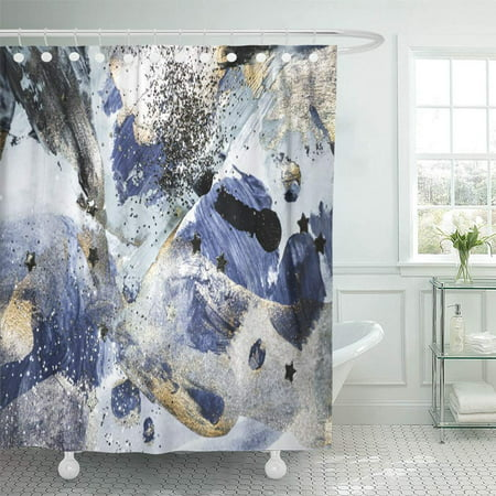 PKNMT Watercolor Brush Very Beautiful Abstract Blue Gold Paint Golden Sequins Artistic Bathroom Shower Curtain 66x72 inch ()