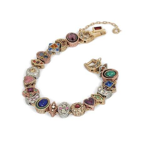 Sweet Romance Women's Victorian Slide Bracelet -Gold, Silver, Bronze Plated Gold Cameo Bracelet Slide