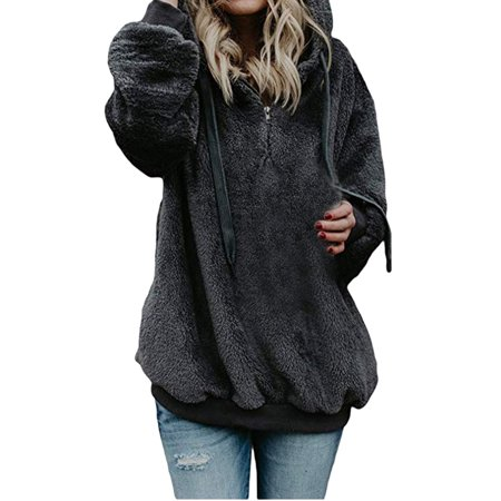 d3635ba92 Iuhan Women Hooded Sweatshirt Coat Winter Warm Wool Zipper Pockets Cotton  Coat Outwear