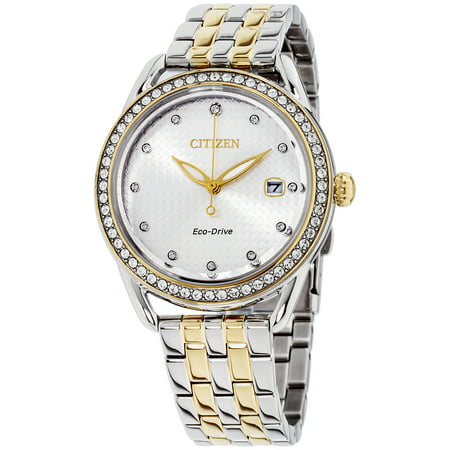 Gold Tone Floating Crystal Watch - FE6114-54A Women's LTR Swarovski Crystal Silver Dial Two Tone Yellow Gold Steel Watch