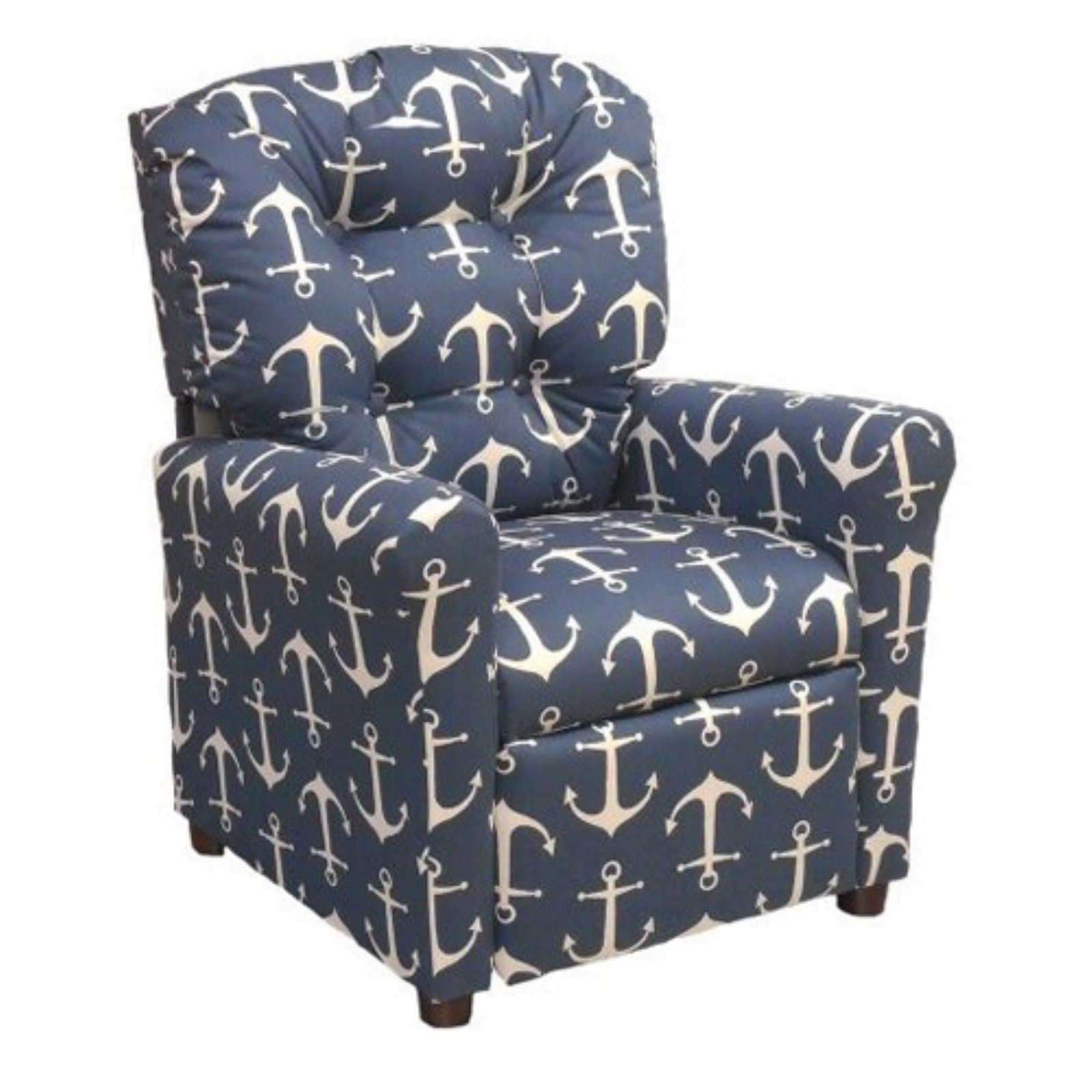 Brazil Furniture 4-Button Back Child Recliner - Navy Anchor