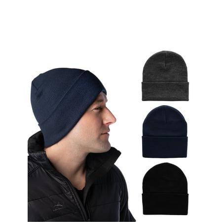 be84fab6 DG Hill - DG Hill Set Of 3 Mens Warm Winter Hats, Navy Blue, Slate ...