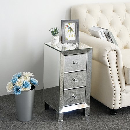 3 Drawers Mirrored Nightstand Modern Bedside Table Simple Night Table Bedside Cabinet Home Bedroom Furniture