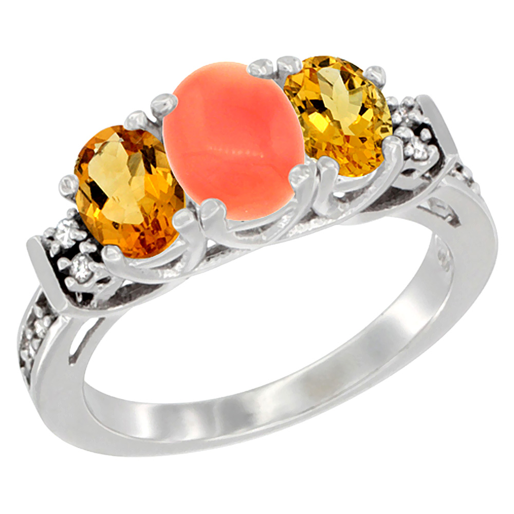 10K White Gold Natural Coral & Citrine Ring 3-Stone Oval Diamond Accent, sizes 5-10 by WorldJewels