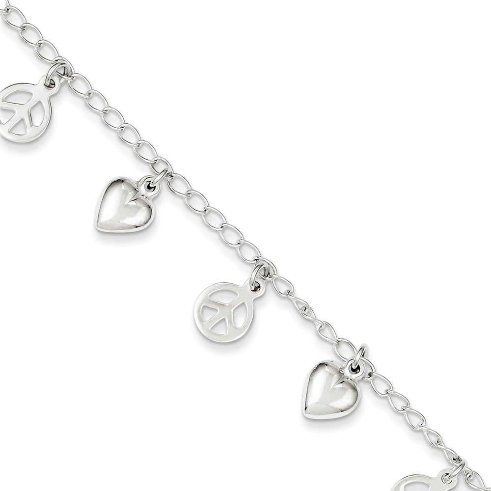 Sterling Silver 7.5in Polished Peace Sign and Heart Bracelet