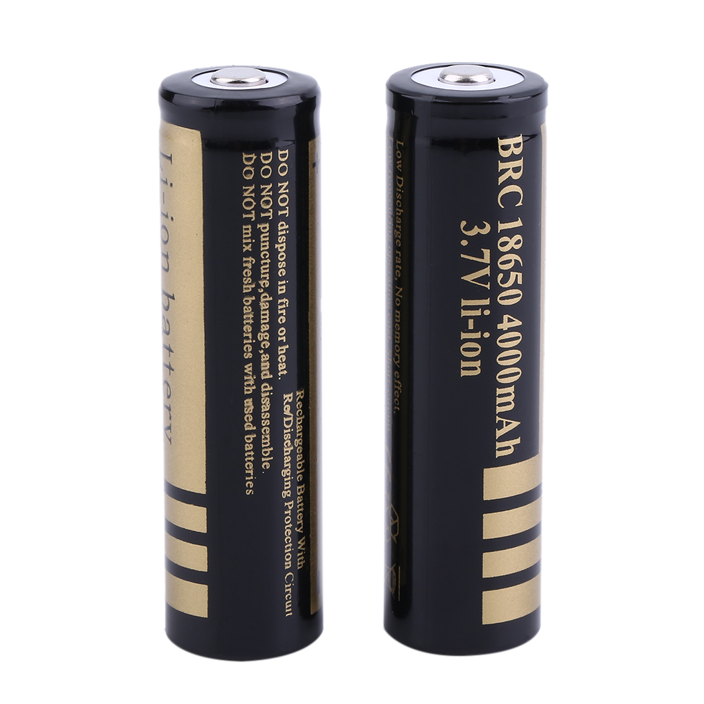 OUTAD On Sales 2 Pcs 18650 3.7V 4000MHA Great Rechargeable Li-Ion Battery For Flashlight Torch And Many Devices Yellow Yellow