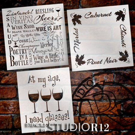 Wine Stencil Set - 3 Part by StudioR12 | Reusable Mylar Template | Use to Paint Wood Signs - Pillows - DIY Wine Lovers Decor- Select Size (8