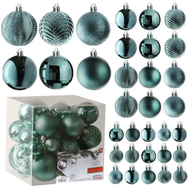 Peacock Blue Christmas Ball Ornaments For Christmas Decorations 36 Pieces Xmas Tree Shatterproof Ornaments With Hanging Loop For Holiday And Party Decoration Combo Of 6 Styles In 3 Sizes Walmart Com Walmart Com