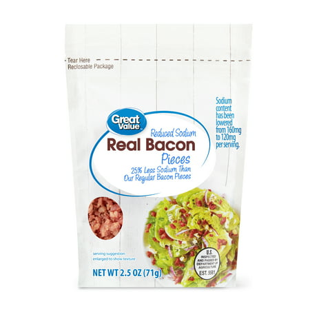 (2 Pack) Great Value Real Bacon Pieces, Reduced Sodium, 2.5 oz
