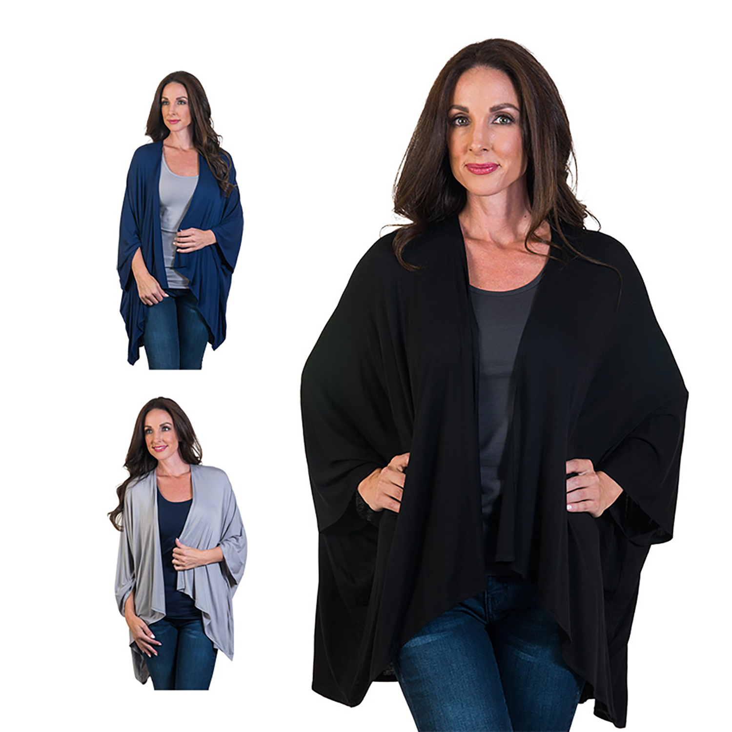 Agiato Women's One Piece Drape Cardigan 3-Pack