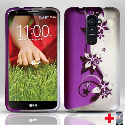 Design Rubberized Hard Case + Screen Protector for LG G2 - Purple Silver Vine