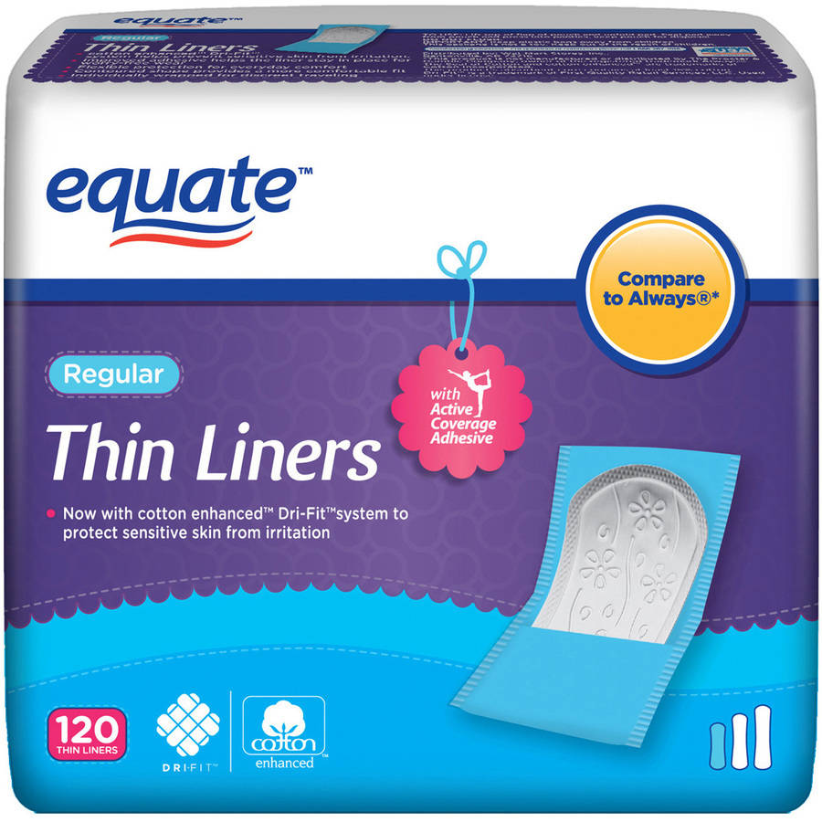 Equate Thin Pantiliners Regular, 120 count