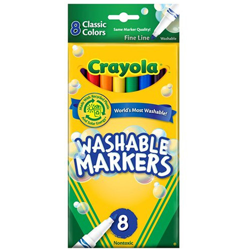 Crayola Fine Point Washable Markers, 8 Classic Colors