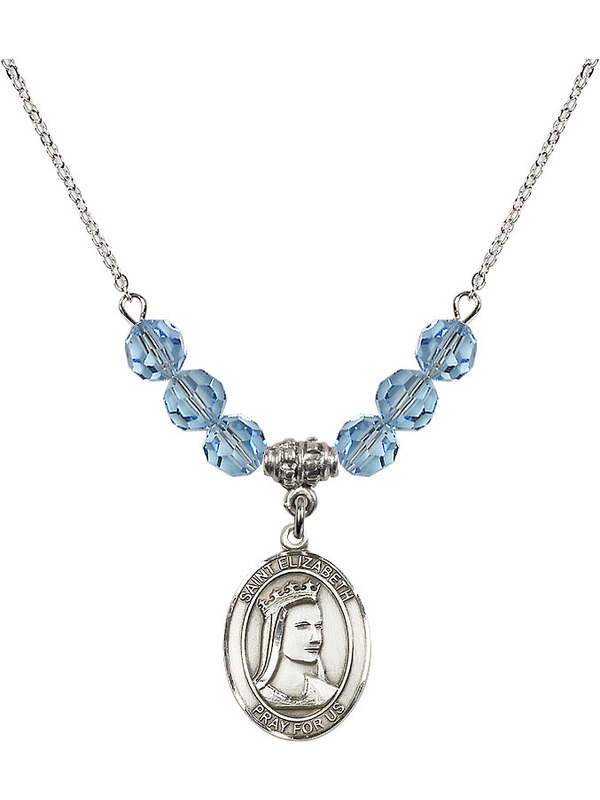 Bonyak Jewelry 18 Inch Rhodium Plated Necklace w// 6mm Blue March Birth Month Stone Beads and Our Lady of Perpetual Help