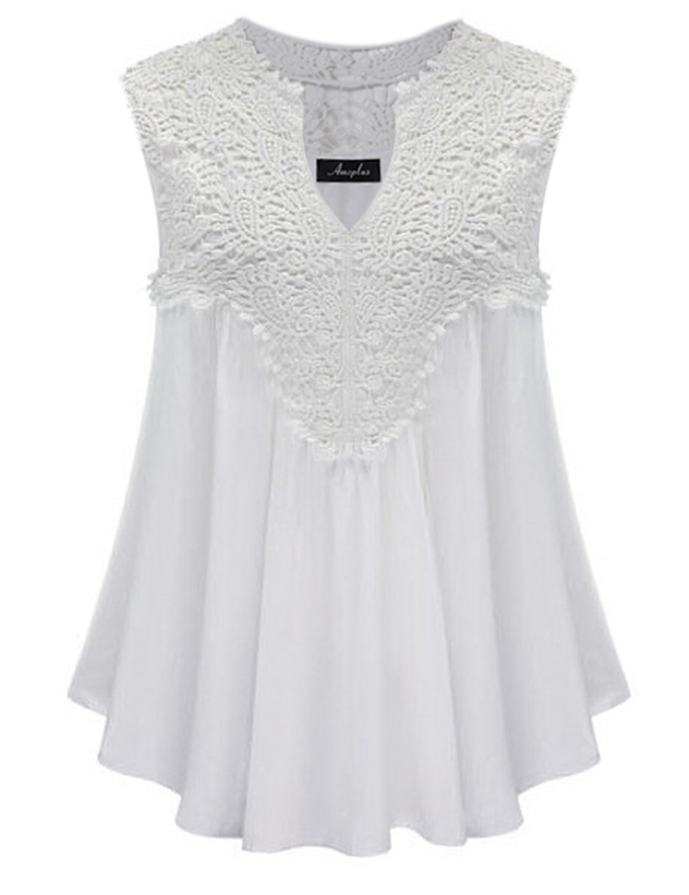 AMZ PLUS Women Sleeveless Lace Pleated Plus Size Top Chiffon Blouse