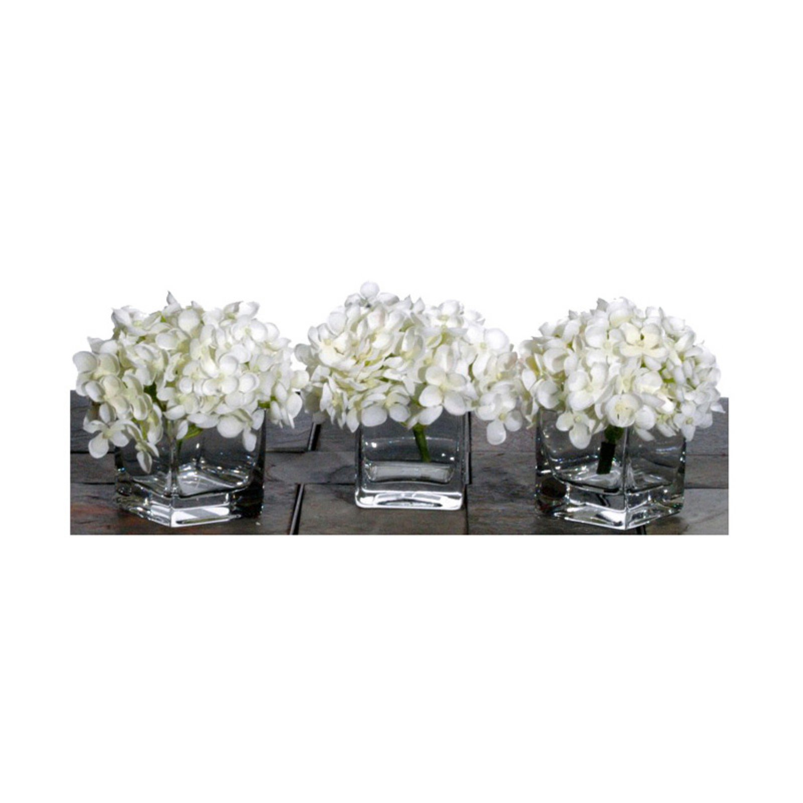 Mini Hydrangea in Cube with Acrylic Water - Small - Set of 3