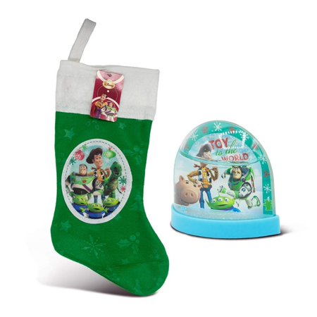 Warp Gadgets Bundle - Toy Story 18 Felt Christmas Stocking w/ Hangtag and Toy Story Mini Plastic Holiday Snowglobe (2 - Holiday Items