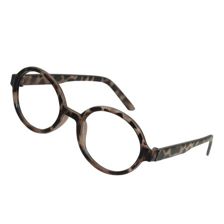 Lady Black Gray Leopard Plastic Round Rims No Lens Spectacles (Online Shopping For Spectacle Frames)