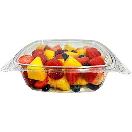 Koda Cup 48 oz. (3/4 Gallon-Size) RPET Clear Plastic Hinged Lid Deli Meal Prep Fruit Salad Display Food Storage Containers 100% BPA Free (Pack of 25) - Halloween Food Display