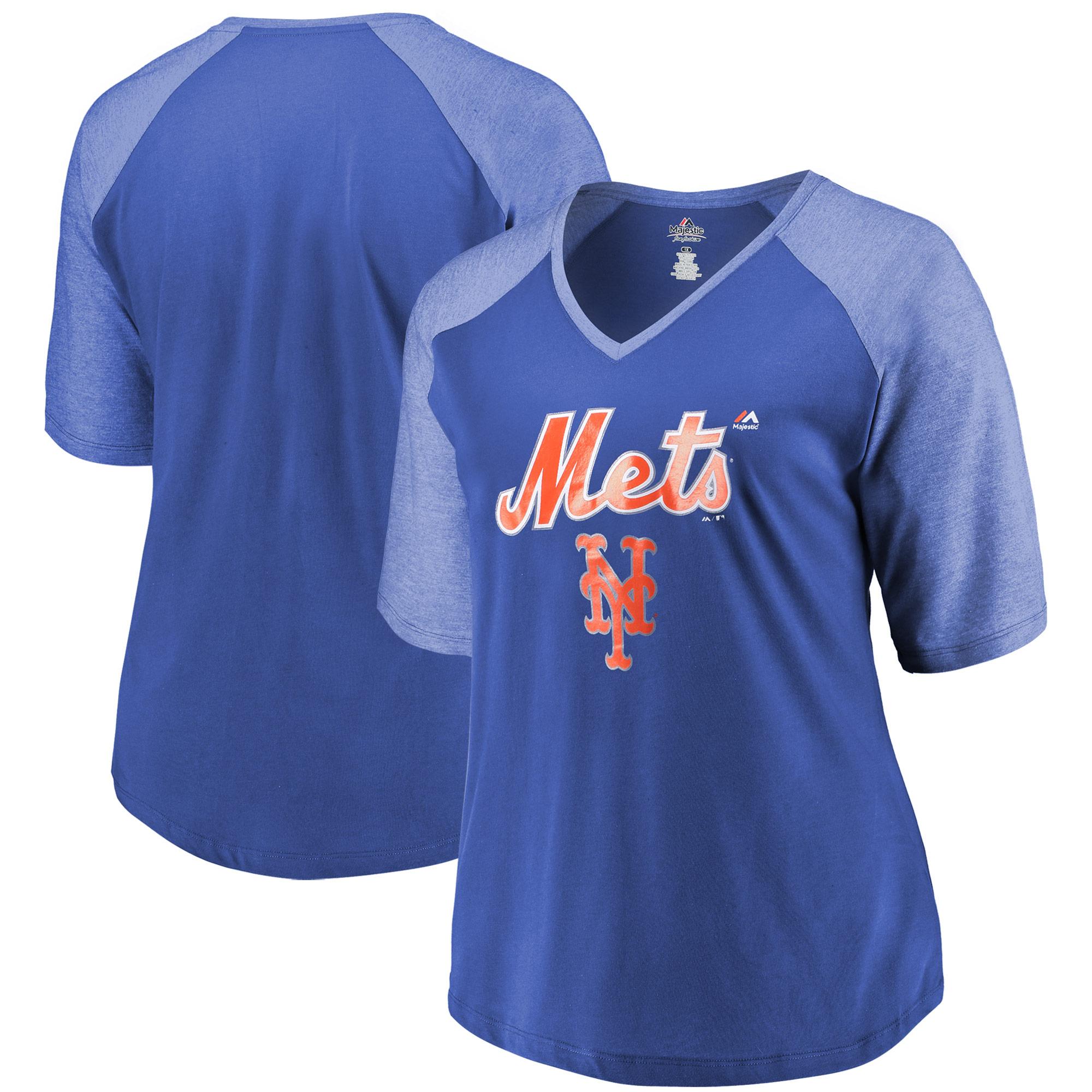 New York Mets Majestic Women's Plus Size Half Sleeve V-Neck T-Shirt - Royal