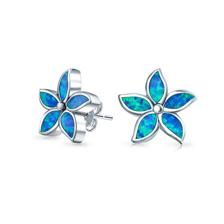 Blue Created Opal Inlay Petals Flower Stud Earrings For Women For Teen 925 Sterling Silver October Birthstone