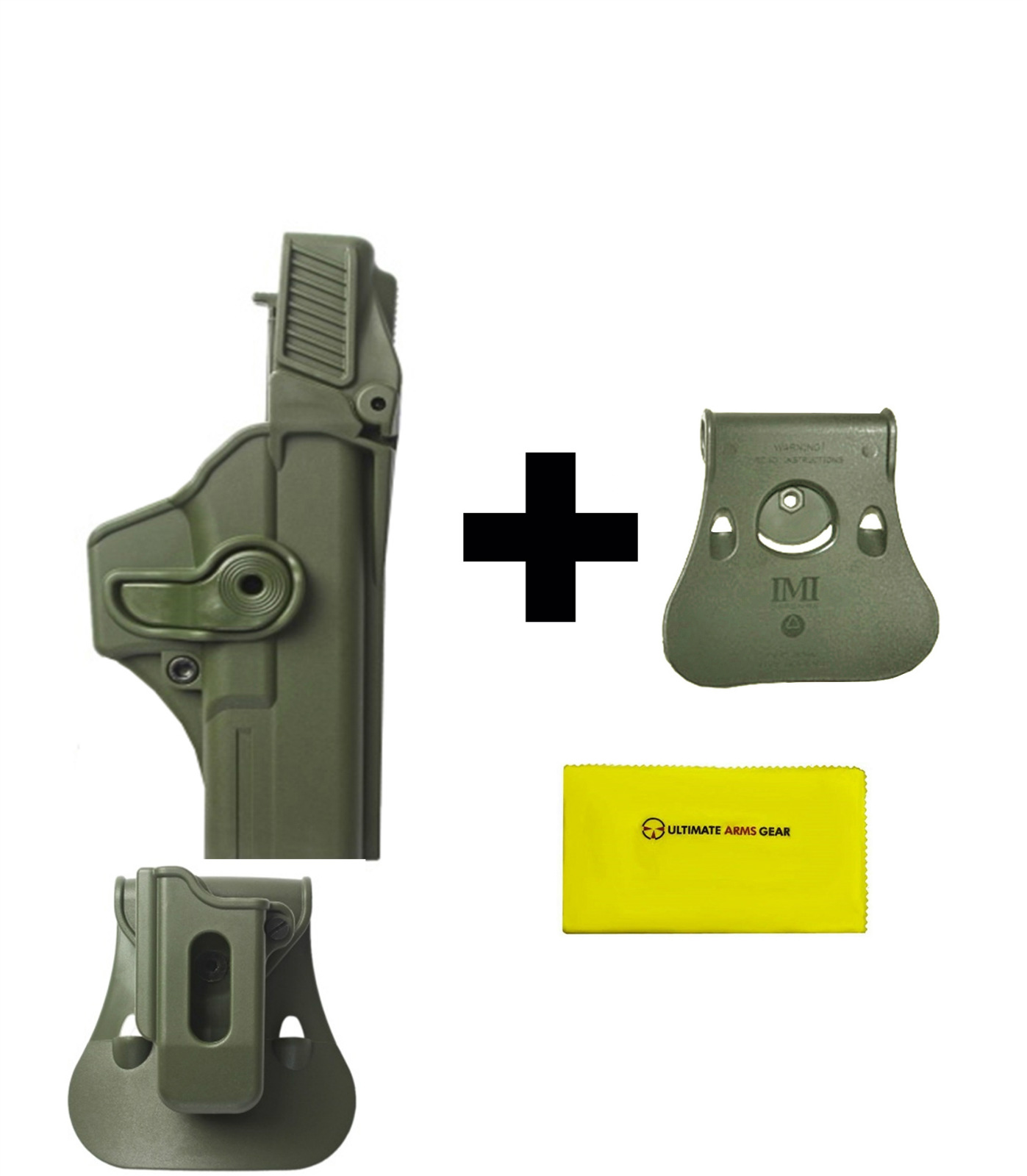 IMI Defense ZSP08 Single Mag Pouch & Paddle + Z1410 Level 3 360� Rotate Holster Glock 17 22 31 Gen 4, OD + Paddle Roto... by