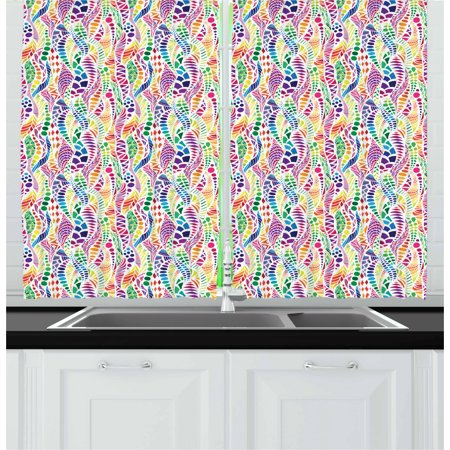 Geometric Curtains 2 Panels Set, Mixed Mosaic Figures Vivid Nature Inspired Kids Girls Hippie Contrast Design, Window Drapes for Living Room Bedroom, 55W X 39L Inches, Multicolor, by Ambesonne - Hippie Inspired Room